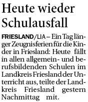 Landkreis friesland schulausfall